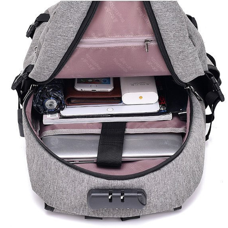 Waterproof Resistant Polyester Laptop Backpack With Usb Charging Port And Lock &headphone Interface For College Student Bagpack #6