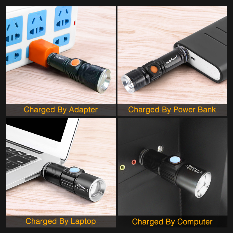 USB LED Flashlight High Power Rechargeable Torch 2000 Lumens Q5 XML T6 3-Modes Zoomable 16340 18650 Flash Light Lantern