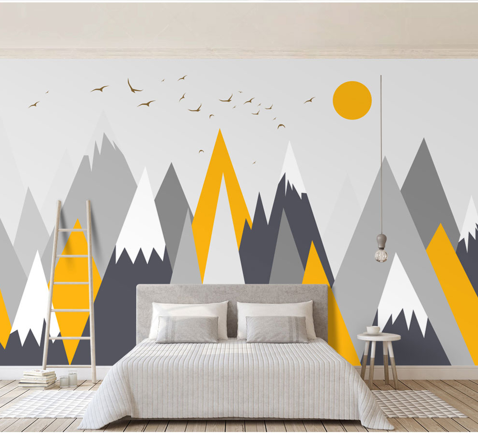 c905e77c126 Cheap Papel pintado abstracto de la geometría amarilla de Bacaz, Mural de  la montaña de