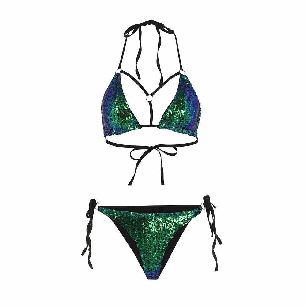 40 * mikro Bikini kadın kadın pullu sütyen Bikini seti Push Up plaj mayo mayo mayo sıcak mayo kadın купальник