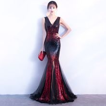 New Style Long Deep V Sequins Mermaid Run the Show Club Party Dress Annual Meeting Cars Evening sequin Reflective dress