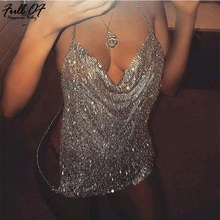 2018 Sexy Metal chain crop top Women Bling Crystal Diamonds Bra shirt Summer Halter Deep V Rhinestone Nightclub Vest thank Tops