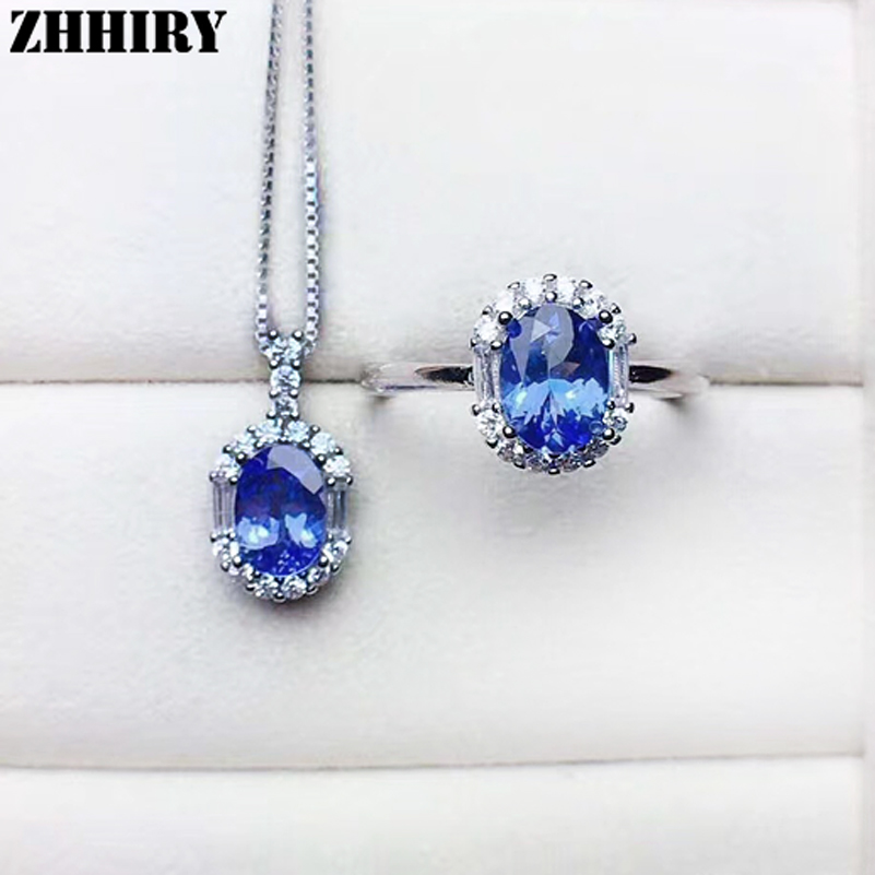ZHHIRY Real Natural Blue Tanzan Jewelry Sets 925 Sterling Silver Ring Necklace Pendant Set For Women Gemstone Fine JewelryZHHIRY Real Natural Blue Tanzan Jewelry Sets 925 Sterling Silver Ring Necklace Pendant Set For Women Gemstone Fine Jewelry
