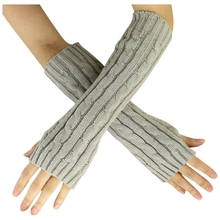 2017 New Fashion Winter Women Men Gloves Unisex Arm Warmer Long Fingerless knit Mitten grey