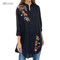 NATOODA Long Floral Embroidery Women Blouses 2017 Side Split Long Sleeve Casual Loose Shirts Elegant Work