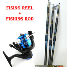 new Lure Fishing Reels spinning reel Fish Tackle Rods Fishing Rod and Reel Carbon FRP rod Ocean Rock (Lure As Free Gift )