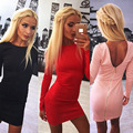 2016 New Fashion Autumn And Winter Sexy Zipper Backless Solid Color Round Neck Long Sleeve Slim Women Sheath Dress