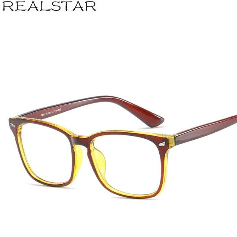 c0ad28d419bf REALSTAR 2018 Retro Square Frames Eyeglasses for Men Myopia Optical Rivets Glasses  Frame Brand Eyewear Glasses ...