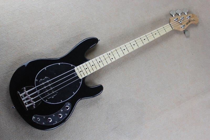 Factory Custom Top quality black colour Maple Fretboard 4 strings music man StingRay Bass guitar 14 11 11