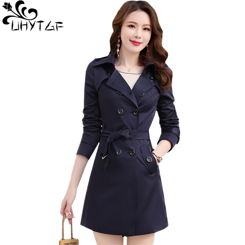 UHYTGF XS-6X Plus size   Trench   Coat for Women Double-breasted Slim Long Outerwear Spring Autumn Long sleeve Windbreaker Coats 827