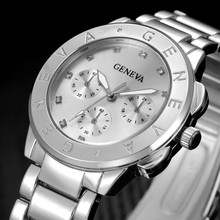 GENEVA Watch Women Luxury Brand Quartz Silver Stainless Steel Dress Fashion Casual Hours Female reloj mujer