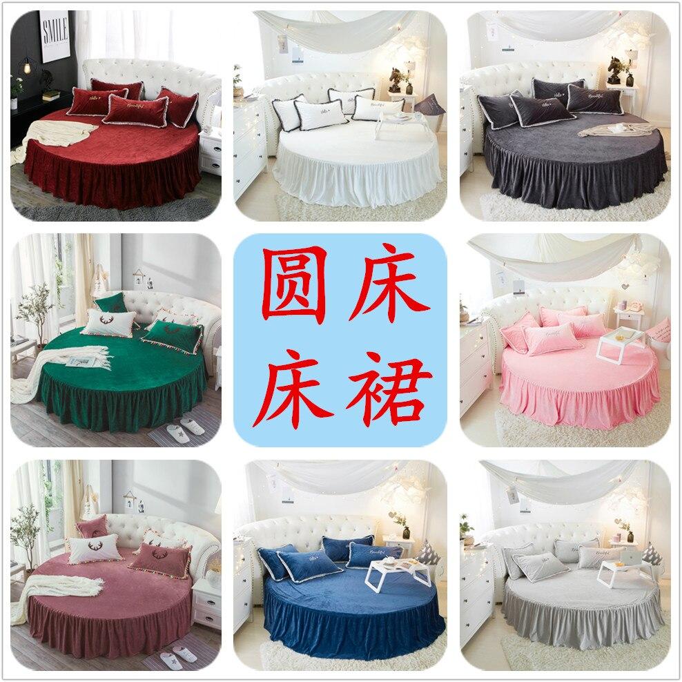 Couleur unie hiver flanelle ronde lit jupe ensemble rond drap de lit ensemble de literie personnalisable surmatelas 200 cm 220 cm