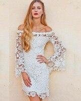 Пикантные лодка средства ухода за кожей Шеи белый кружево короткое платье для выпускного платье с длинными рукавами для Свадебная Вечеринк