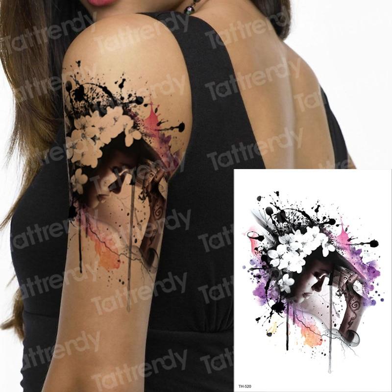 Womens Temporary Tattoos: Watercolor Tattoo Long Lasting Tattoo Temporary Waterproof