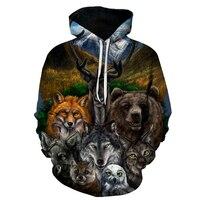 MU DING 3D Animal Gedrukt Hoodies Vrouwen Sweatshirts Bear Wolf Uil Vos Trui Nieuwigheid Trainingspakken Casual Hooded Streetwear