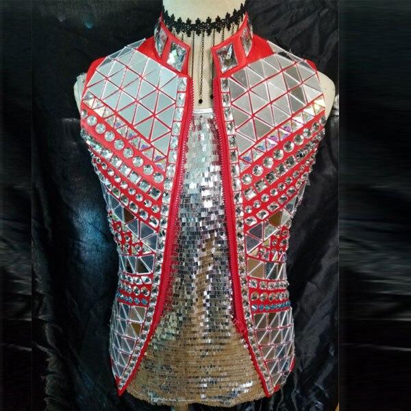 Moda Nero Rosso Specchio D'argento Della Maglia Giacca Maschio Cantante Prestazioni outfit Costume Strass Stile Punk Ds Dj Tuta Sportiva Cappotto
