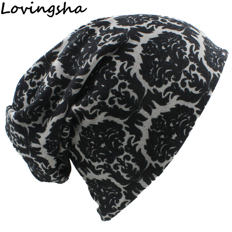 LOVINGSHA Brand Autumn Winter Vintage Design Multifunction Women Hats For Ladies Thin Skullies Beanies Girl Fashion Scarf HT062
