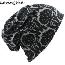LOVINGSHA marka jesień zima Vintage Design wielofunkcyjne damskie czapki dla pań cienkie Skullies czapki dziewczyna moda szalik HT062 tanie tanio Dla dorosłych Poliester WOMEN GEOMETRIC Skullies czapki Na co dzień