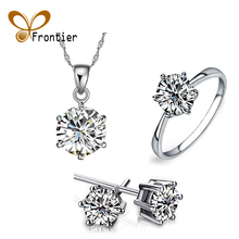 For Women White Silver Necklace/Earring/Ring Jewelry Sets With Austrian Crystals Fashion Wedding Jewelry 3 Pcs/Set
