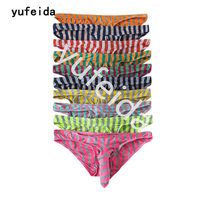 YUFEIDA Wholesale Novelty Men Striped Underwear Sexy Heuptas Briefs Cueca Bikini Penis Cover Underpants Briefs 10PCS/Lot