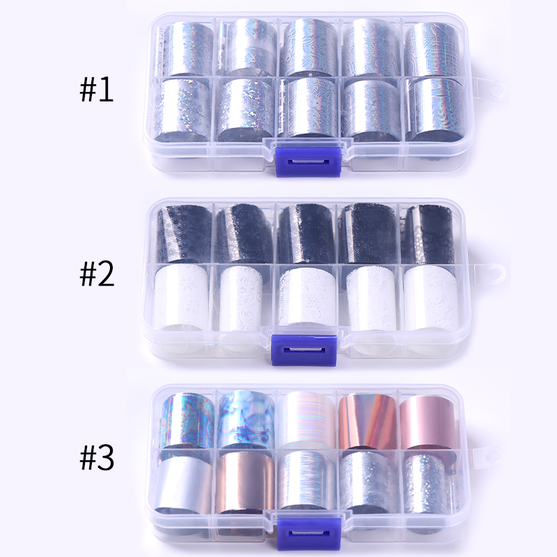 Image 4 - 10 Rolls/Box Holographic Nail Foils Nails Wraps Multi pattern Colorful Transfer Sticker Decals Tips Nail Art Decorations-in Stickers & Decals from Beauty & Health