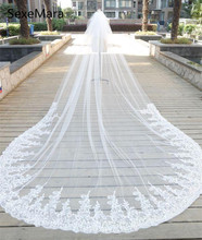 High Quality White Wedding Veils 3 Meters Long Cathedral Length Lace Applique Bridal Veil With Comb Custom Made Hot Sale