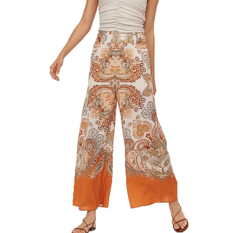 Summer   pants   women 2019 casual orange womens clothing print trousers women high waist   pants     wide     leg     pants