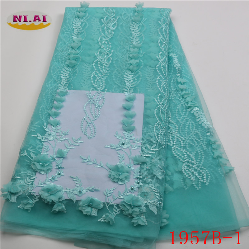 Latest African Lace Fabrics 2018 High Quality Bridal 3d Lace Embroidery Nigerian French Net Lace Fabrics