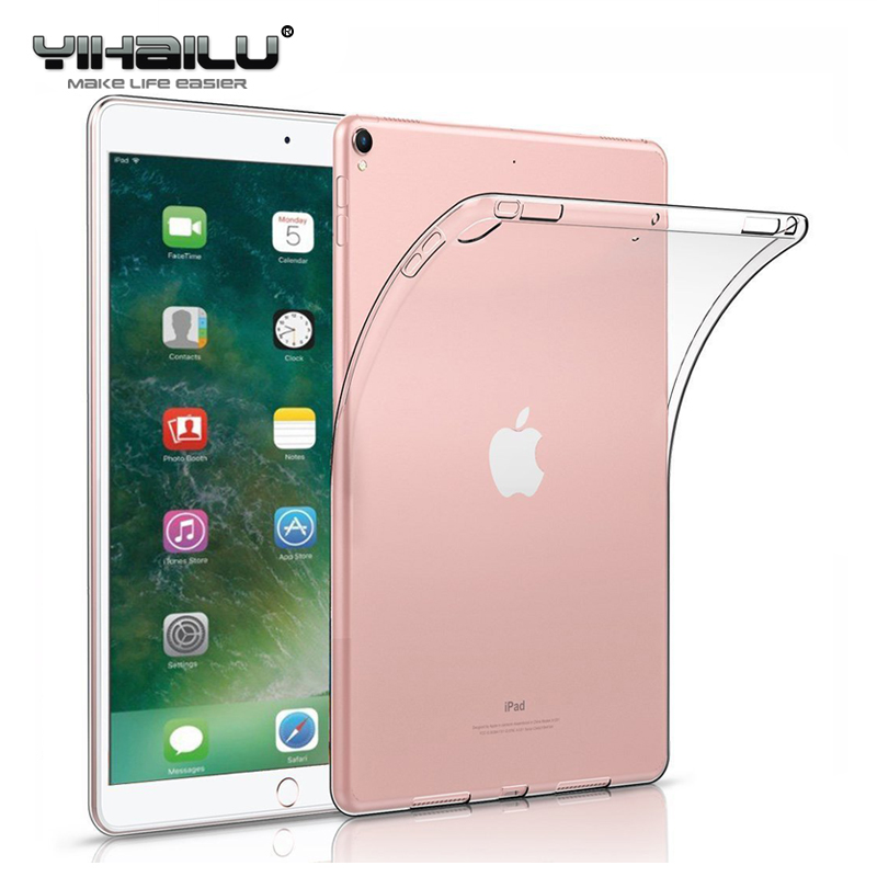 For iPad Pro 10.5 Case Flexible Soft TPU Crystal Clear Case Shockproof Anti Slip Back Protect Cover For iPad Pro 10.5 inch 2017 case for ipad pro 12 9 case tablet cover shockproof heavy duty protect skin rubber hybrid cover for ipad pro 12 9 durable 2 in 1