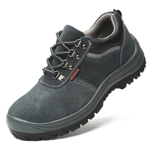 big size mens leisure comfortable steel toe cover work safety shoes cow suede leather worker shoe security boots protection man