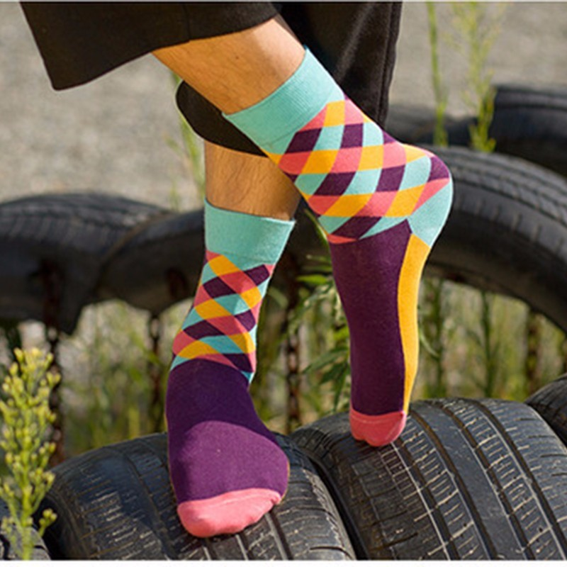 PEONGLY 2018 Solid color multi grid business funny socks men 5PAIRS/LOT calcetines meia masculina