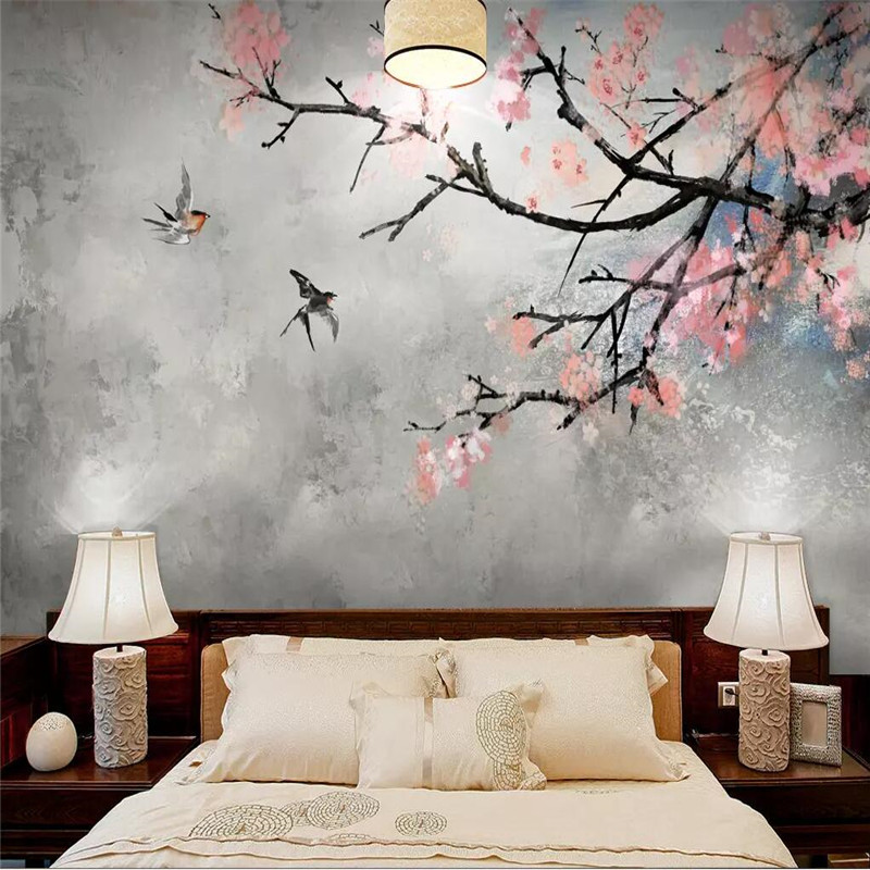 Sakura Hand-painted Flowers And Birds Background Wall Professional Production Mural Wallpaper Custom Poster Photo Wall
