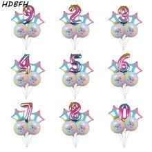 Hdbfh 5 개/몫 새로운 32 인치 그라디언트 컬러 디지털 유니콘 알루미늄 풍선 휴일 파티 생일 장식 풍선 도매