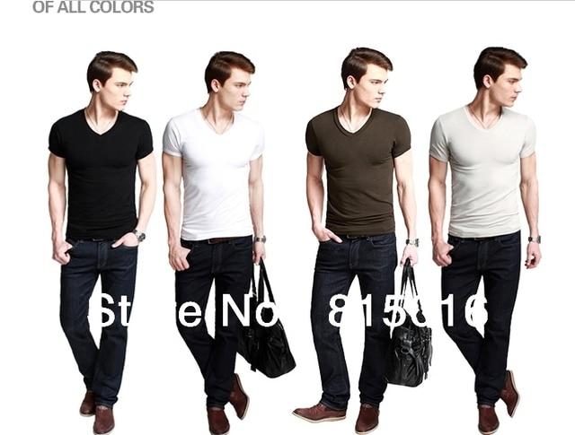 Free shipping 2013 New Fashion V-NECK Pure cotton men's Short sleeve T-shirt ,Mens' casual T-shirt white,Gray,Black,Coffe color