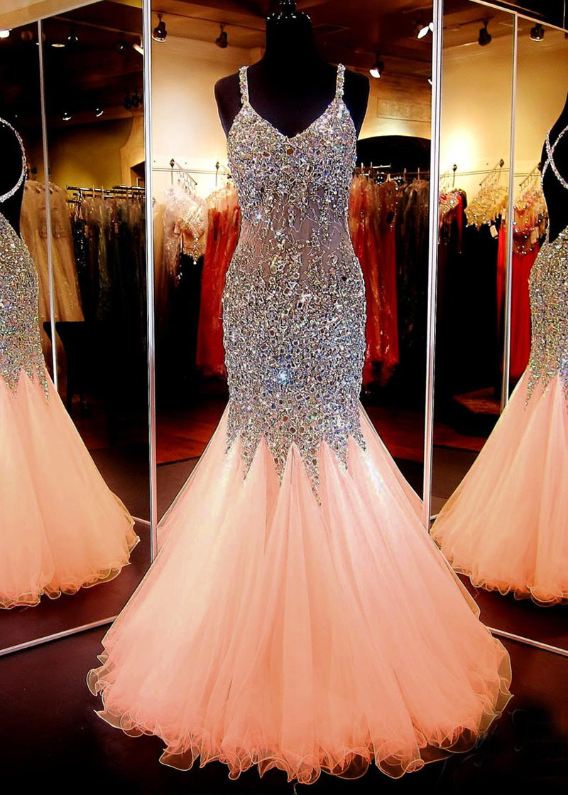 Custom Made Back Crossed Sexy Pink Mermaid Prom Dresses 2016 Long V Neck Beading Evening Party Gown Vestidos de fiesta longo