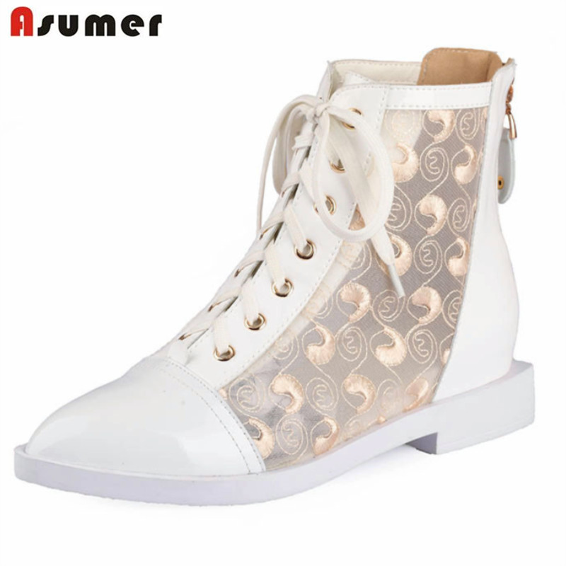 Asumer 2018 hot sale spring autumn new arrive women boots fashion lace up zipper genuine leather ankle boots asumer 2018 hot sale new arrive women boots fashion zipper black genuine leather pointed toe ladies boots simple mid calf boots