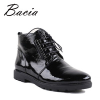 Bacia 2016 botines mujeres botas de cuero genuino de lujo hecho a mano negro de moda otoño botas con felpa corta mujer zapatos vc014