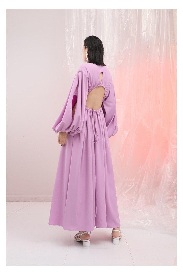 Robe Lanterne En Unique Personnalité Poitrine Mousseline Pink Ultra Longue Manches Extra Long out Creux De Printemps D'été Soie I6wqFn1Bfw