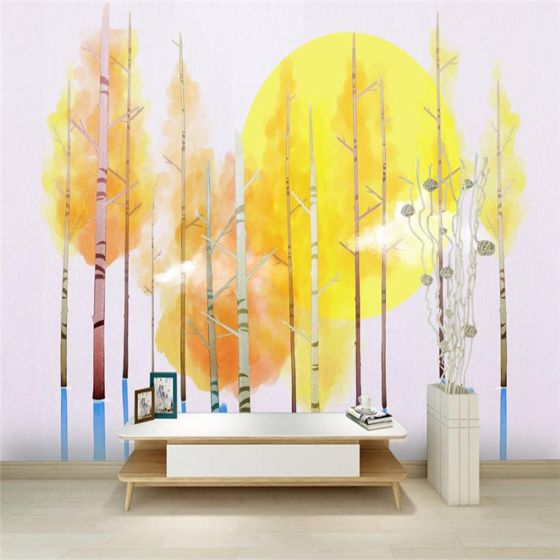 Yellow Wallpaper For Walls 3 D Nordic Simple Modern Aesthetic Maple Forest Kids Room Office Study Kitchen Desktop