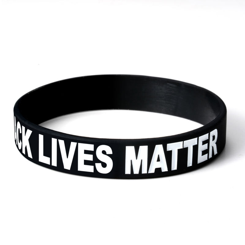 Hot Pink And White Silicone Black Lives Matter Awareness And Support Bracelets