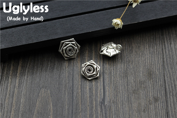 Uglyless Real 925 Sterling Silver Rose Floral Charms Accessories Jewelry DIY Ethnic Retro Handmade Flower Pendant Small Findings