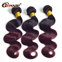 Gossip Ombre Brazilian Hair Weave Bundles Body Wave Two Tone 1b 99j Color Human Hair Bundles 1 PC 1b Burgundy Non Remy Hair