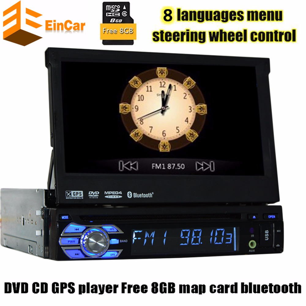 Universal 1din car dvd gps player 7inch sliding digital touch with free map camera autoradio GPS Navigation Bluetooth stereo aut