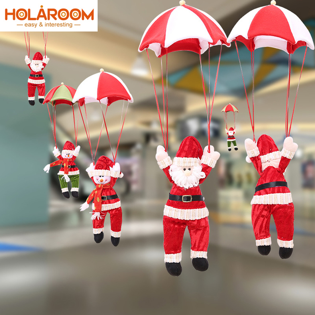 New Year Christmas Decorations Parachute Santa Claus Snowman Ceiling Tree Hanging Ornaments Home Party Festival