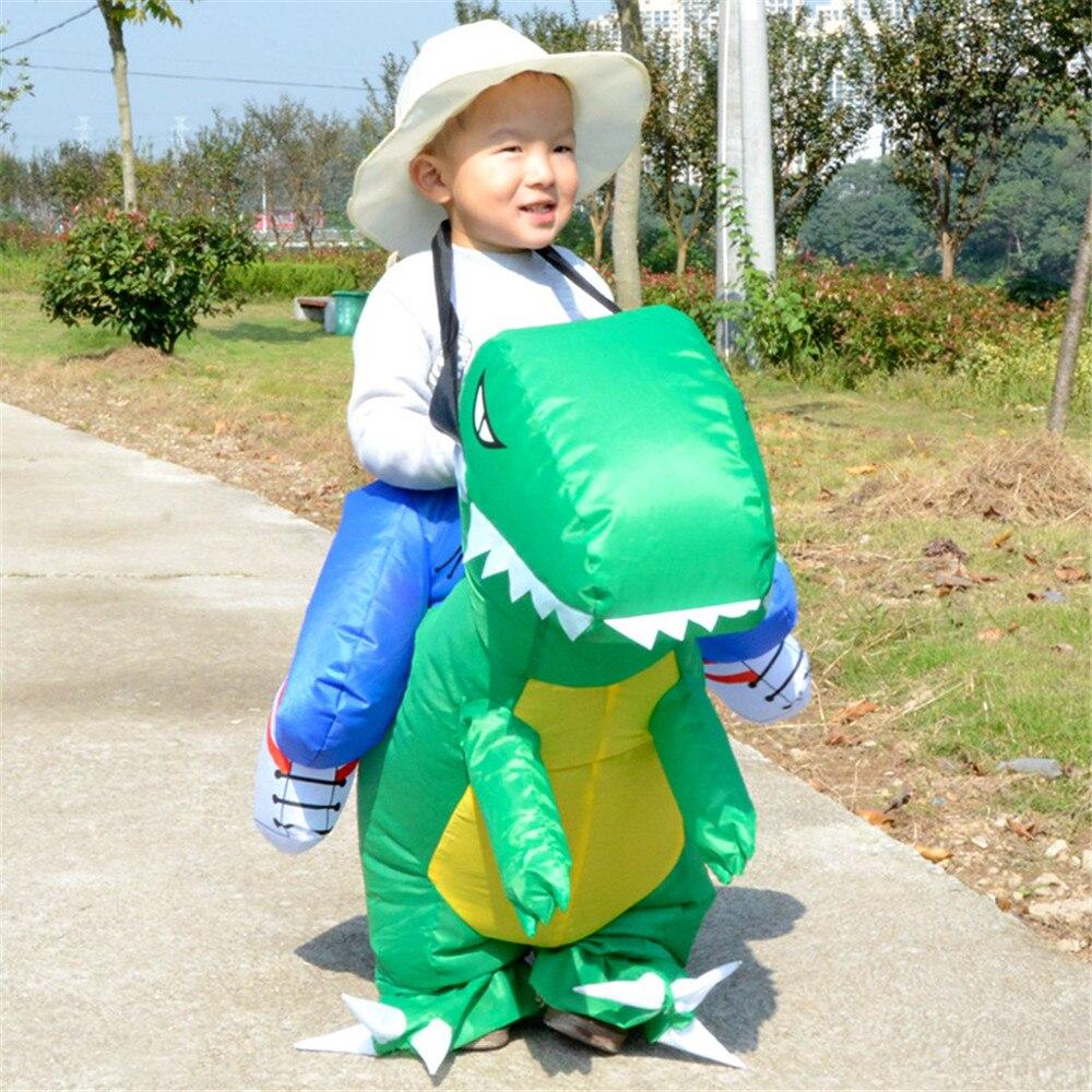 Косплей надувные динозавра костюмы для детей мальчиков и девочек нарядное платье Пурим костюм для Хэллоуина зеленый/желтый/красный/оранже...