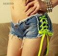 Женские Сексуальные джинсы джинсовые шорты Летняя Мода хлопок шнуровке Сексуальные супер шорты Дамы Тощий супер короткие джинсы Девушки GRS-8104