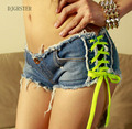 Womens Sexy jeans denim shorts Summer Fashion cotton lace-up Sexy super shorts Ladies Skinny super short jeans Girls GRS-8104