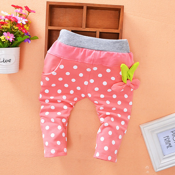 New Cute Polka dot girls trousers spring and autumn knitted cotton pants printing child pants wholesale 0-3 years old pants Baby Pants