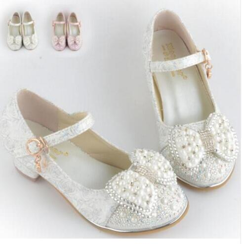 2017Children Princess Sandals Kids Girls Wedding Shoes High Heels Dress  Shoes Bowtie Party Shoes For Girls White Pink Dropship 03740c4f6134