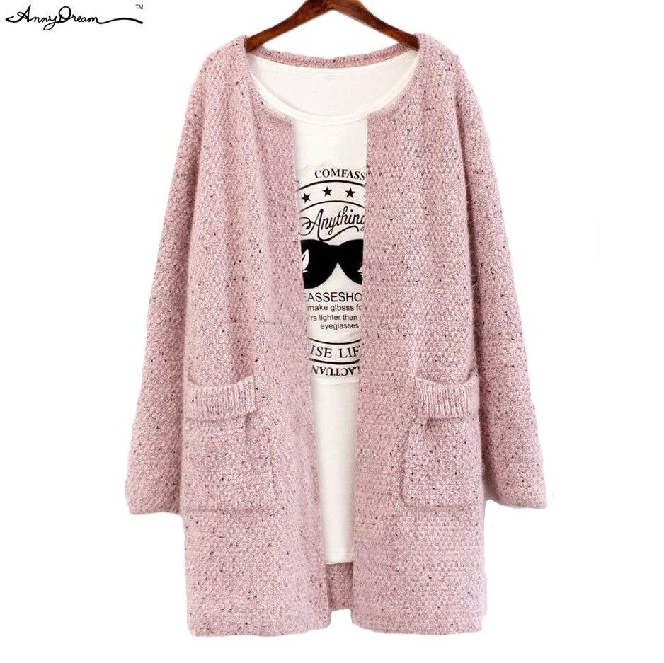Open Stitch Female Knitted Cardigan Sweater Dress Coat Women Thick ...
